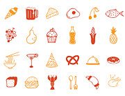 Noodles Prints - Food Icon Set Print by Eastnine Inc.