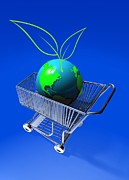 Shopping Cart Prints - Food Miles, Conceptual Artwork Print by Victor Habbick Visions