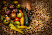 Basket Posters - Food - Vegetables - Very early harvest Poster by Mike Savad