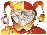 Fool Prints - FOOLS CAP WORLD MAP, c1590 Print by Granger