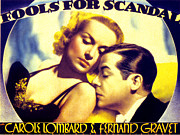 Newscanner Framed Prints - Fools For Scandal, Carole Lombard Framed Print by Everett