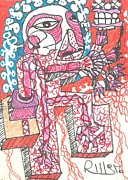 Art Brut Drawings - FOOT And MOUTH by Robert Wolverton Jr
