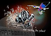 Crystal Mixed Media - Football Derby Rams against Crystal Palace Eagles by Miki De Goodaboom