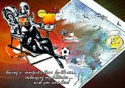 Football Mixed Media Posters - Football Derby Rams on holidays by the sea Poster by Miki De Goodaboom
