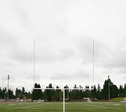 High School Sports Prints - Football Field and Goalpost Print by Andersen Ross