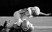 Football Safety Prints - Football in Black and White Print by Susan Leggett