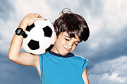Children Playing Portrait Prints - Football player celebrating victory Print by Anna Omelchenko