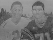 Milton Gore Drawings - Football Players by Milton  Gore