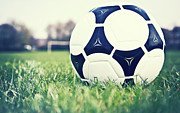 Soccer Ball Framed Prints - Football Framed Print by Sally Anscombe