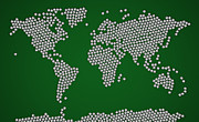 Grass Prints - Football Soccer Balls World Map Print by Michael Tompsett