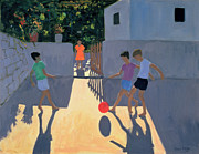 Watching Painting Prints - Footballers Print by Andrew Macara