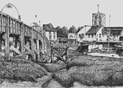 Townscapes Drawings - Footbridge - Shoreham by Gary Smith