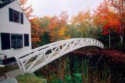 White Arched Bridge Prints - Footbridge and Foliage Print by George Oze