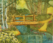 Sun Rays Painting Prints - Footbridge in the Woods Print by Elizabeth Coats