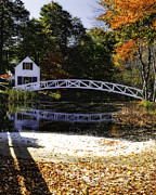 White Arched Bridge Prints - Footbridge with Autumn Colors Print by George Oze