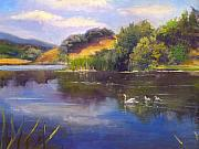Swans... Paintings - Foothill Park Pond by Norah Brown