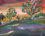Prairie Paintings - Foothills trees by James Bryron Love