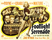 Grable Framed Prints - Footlight Serenade, John Payne Far Framed Print by Everett