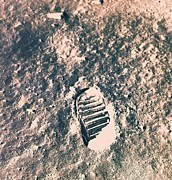 Dust Posters - Footprint On Lunar Surface Poster by Stockbyte