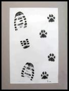 Footprints Drawings Framed Prints - Footprints- Friends Framed Print by Dragica  Micki Fortuna