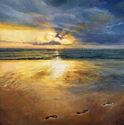 Jesus In Clouds Paintings - Footprints by Helen Parsley