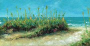 Sand Dunes Painting Posters - Footprints In The Sand Poster by Frances Marino