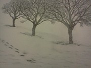 Snowy Trees Drawings - Footprints in the Snow by Christy Brammer