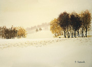 Snowy Trees Paintings - Footprints In The Snow by Patricia Novack