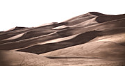 Sand Dunes Prints - Footprints Into Copper Dunes Print by Adam Pender