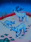 Medicine Mixed Media Prints - Footprints of the Blue Deer Print by Angelina Benson