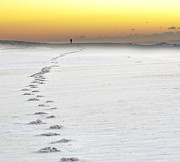 Footprints To Sunrise Print by Vicki Jauron
