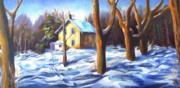 Pathways Painting Originals - Footsteps in the Snow by Diane Daigle