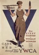 Plane Painting Prints - For Every Fighter a Woman Worker Print by Adolph Treidler