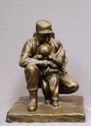 Soldier Sculptures - For Future Freedom bronze sculpture of soldier and child by Stan Watts by Stan Watts
