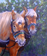 Horses In Harness Prints - For Hire Print by Debra Mickelson
