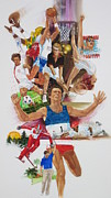 Gymnastics Paintings - For Love of the Games by Chuck Hamrick