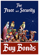 Wpa Framed Prints - For Peace and Security Buy Bonds Framed Print by War Is Hell Store