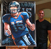 Denver Broncos Paintings - For Sale Original Painting Signed By Tim Tebow by Sports Art World Wide John Prince