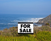Ocean Front Photos - For Sale Sign Near Beach by David Buffington