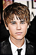 Celebrity Mixed Media Posters - For the Belieber in You Poster by The DigArtisT