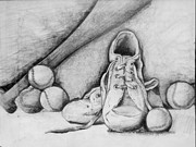 Tennis Drawings Originals - For the love of baseball by Shelbi Ummel