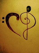 Musical Notes Drawings Prints - For the love of music Print by Misty Dempsey