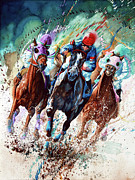 Horse Race Art Print Thoroughbred Race Art Print Posters - For The Roses Poster by Hanne Lore Koehler