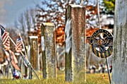 Cemetery Pyrography Prints - For Their Service Print by Shirley Tinkham