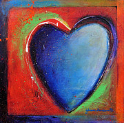 Abstract Heart Paintings - For You Heart 3 by Johane Amirault