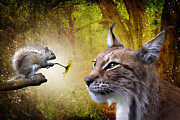 Feline Digital Art Metal Prints - For You Metal Print by Julie L Hoddinott