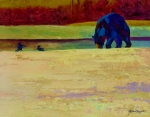 Wild Animals Paintings - Foraging At Neets Bay - Black Bear by Marion Rose