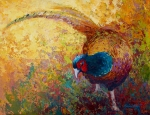 Pheasant Paintings - Foraging Pheasant by Marion Rose