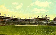 Baseball Stadiums Framed Prints - Forbes Field Grandstand In Pittsburgh Pa In 1910 Framed Print by Dwight Goss