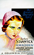 Films By Frank Capra Posters - Forbidden, Barbara Stanwyck, 1932 Poster by Everett